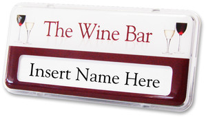 Reusable plastic name badges - Clear border and white / burgundy background | www.namebadgesinternational.co.uk